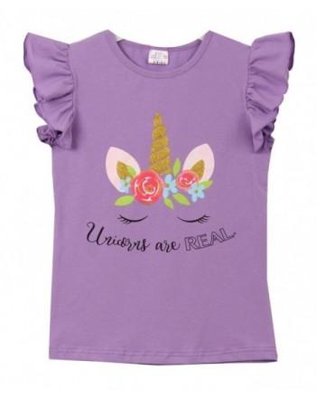 Little Ruffle Sleeve Unicorn T Shirt