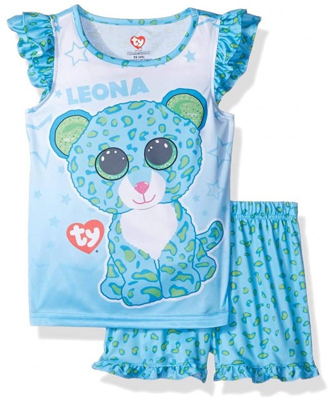 Girls Ty Beanie Boo Ruffle Pajama Short Set Blue