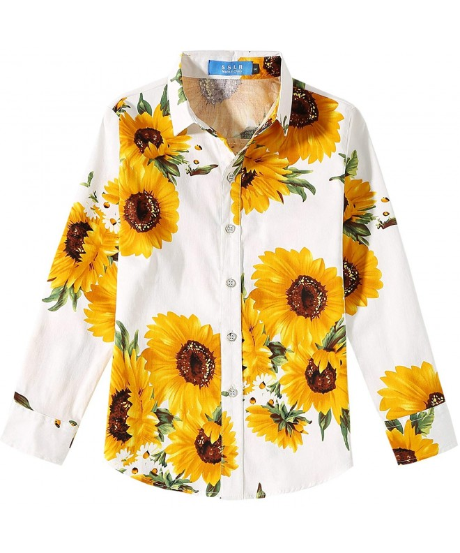 SSLR Sunflowers Printed Casual Button