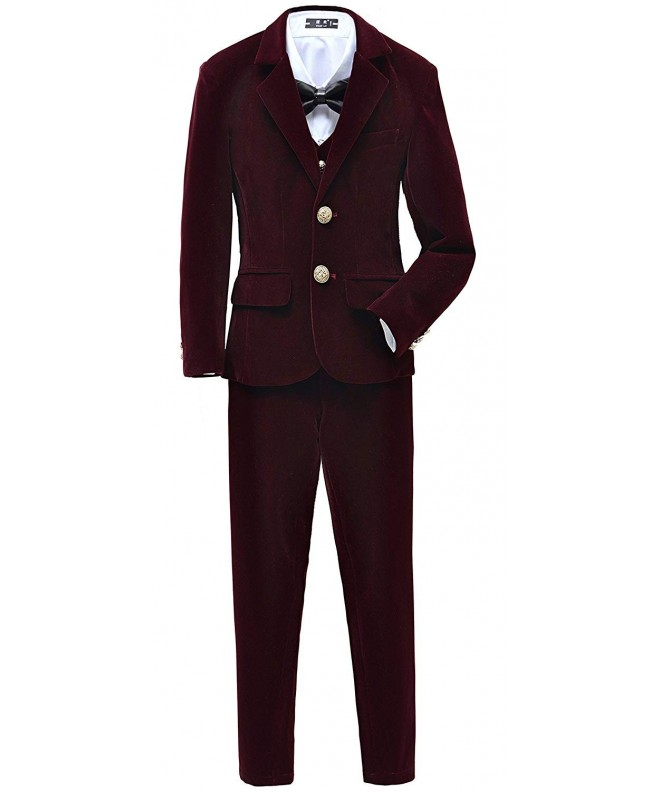 Yuanlu Velvet Suits Burgundy Wedding