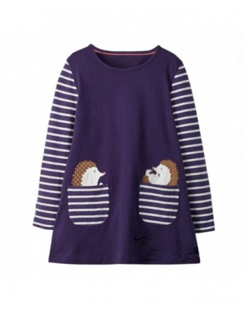 DXTON Toddler Animal Stripe Dresses
