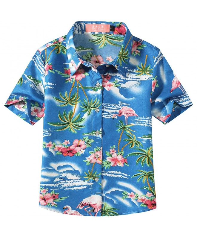 SSLR Flamingos Casual Button Hawaiian