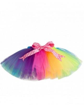 MOLFROA Girls Bowknot Gauze Rainbow