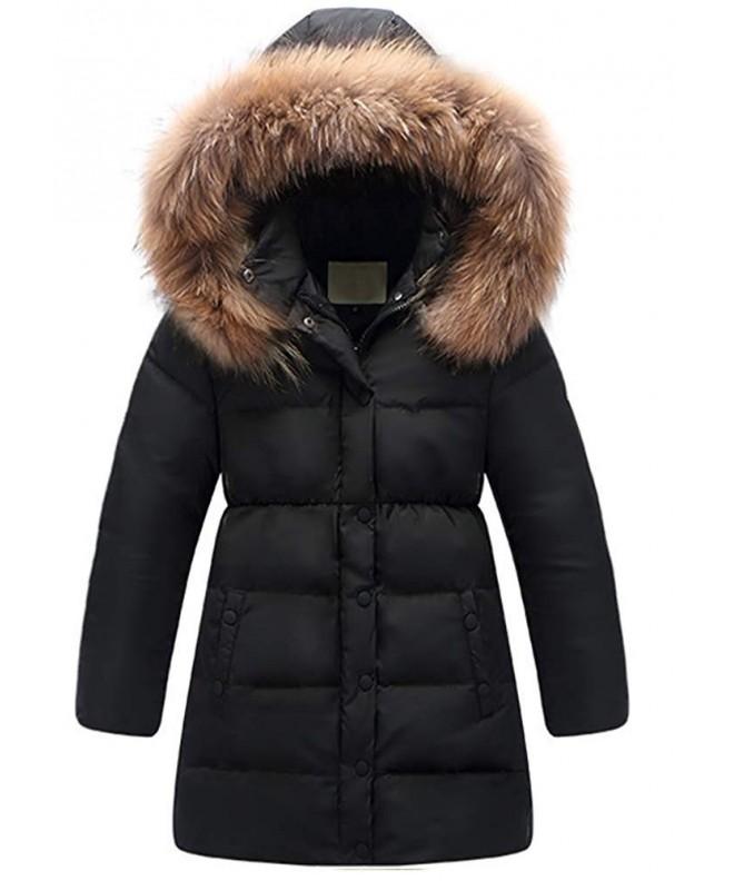 6d0622609 Big Girls' Winter Parka Down Coat Puffer Jacket Padded Overcoat with Fur  Hood Army Green - Black - C012ODBHUUR