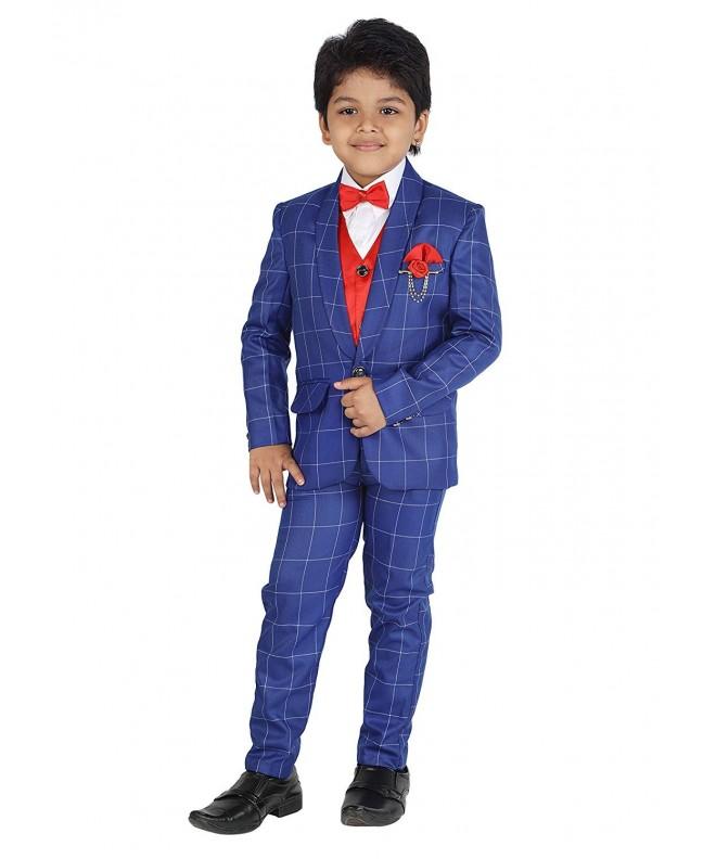 4b595ab6f Kids Party Wear 5 Pc Boys Formal Suit-Vest-Pant-Dress Shirt-Tie Set ...