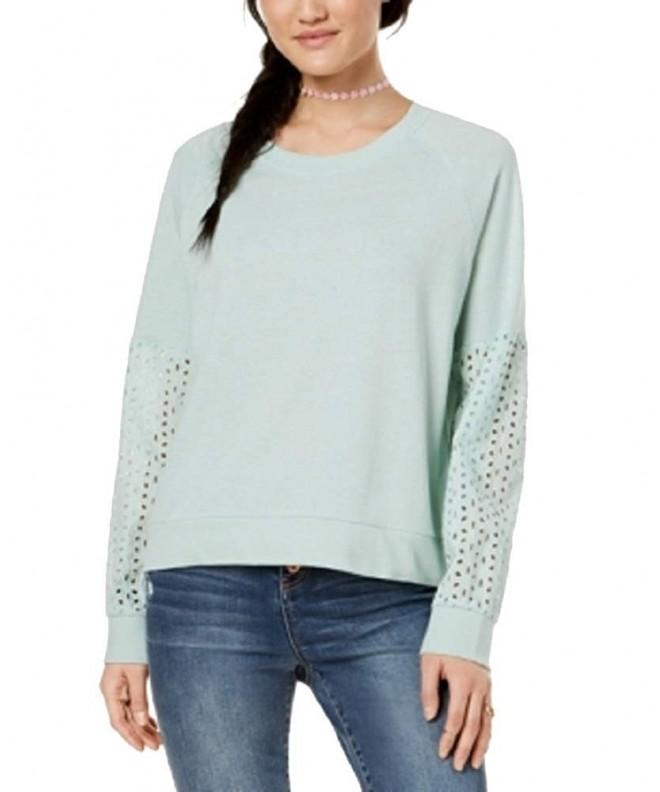 Hippie Rose Juniors Eyelet Contrast Sweatshirt
