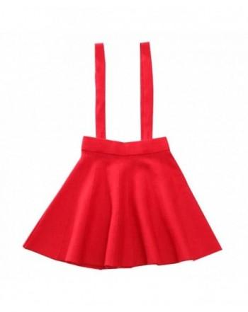 Girls Solid Flare Suspender Skirt