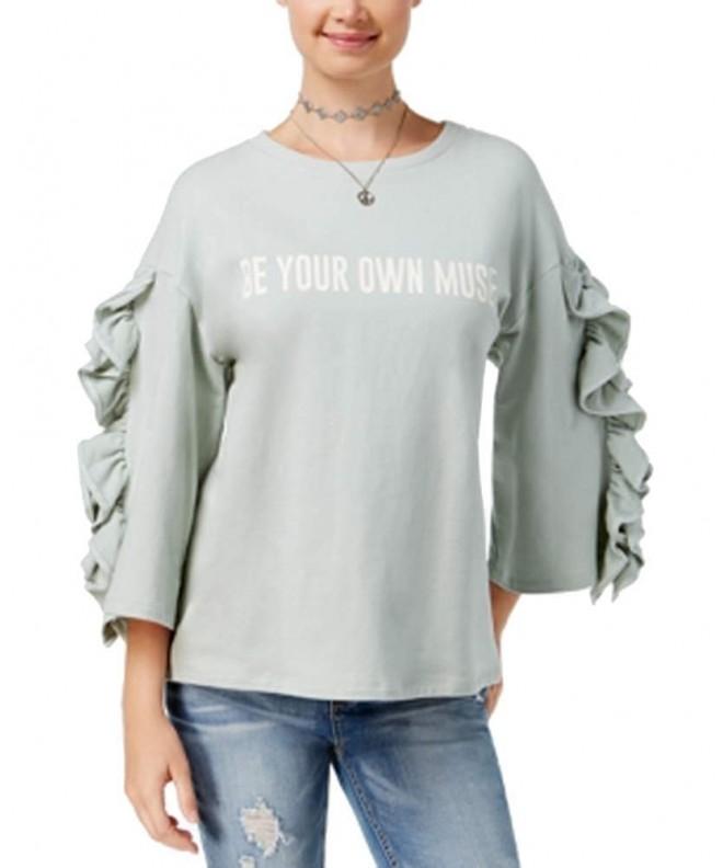 Polly Esther Juniors Ruffle Sleeve Sweatshirt