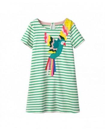 Toddler Animal Stripe Sleeves Dresses