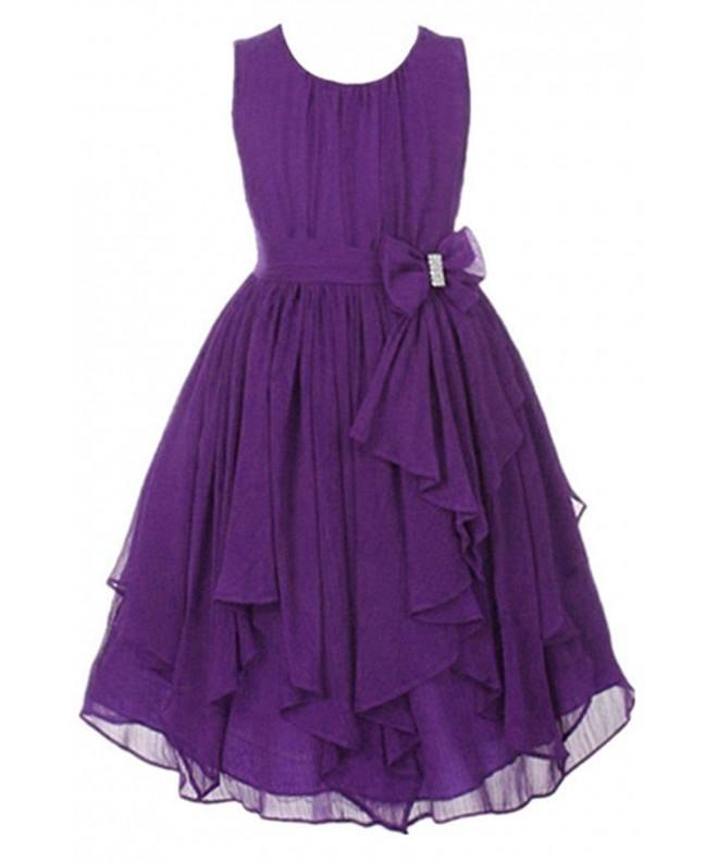 Big Girl Kids Sleeveless Asymmetric Chiffon Flower Party Wedding Bridesmaid Dress Dark Purple C11834cr7u8,Formal Summer Beach Wedding Guest Dresses