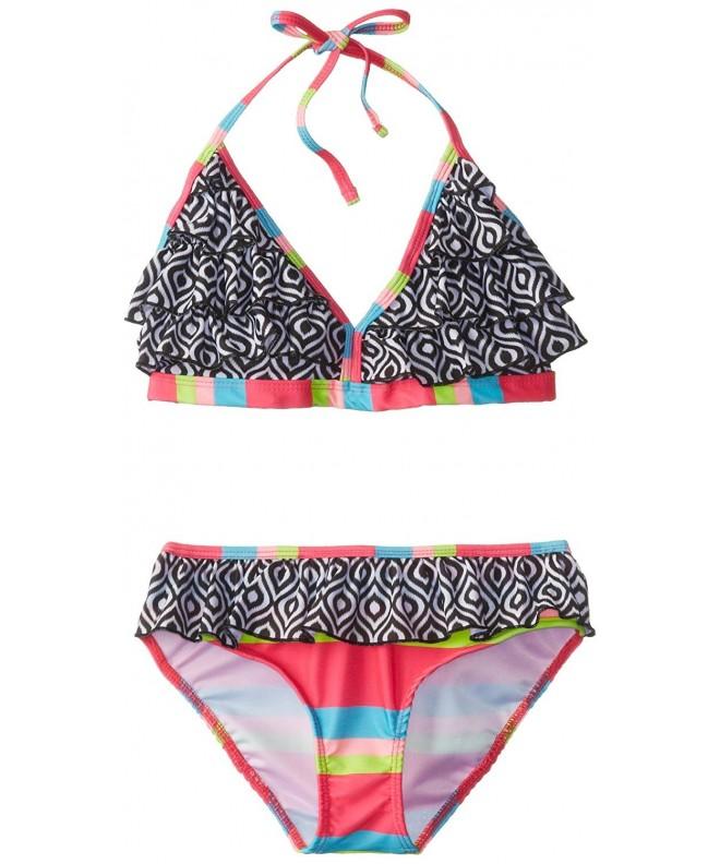 Pink Platinum Girls Stripe Ruffle