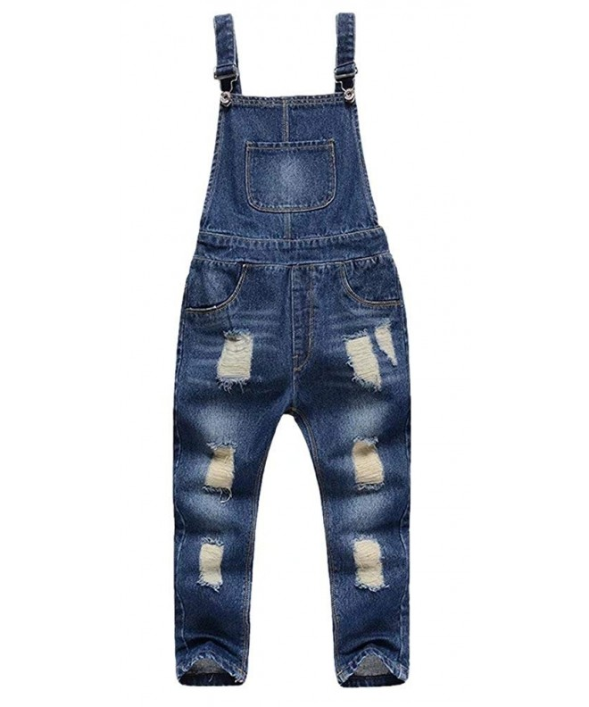 BINPAW Unisex Ripped Overall Jeans