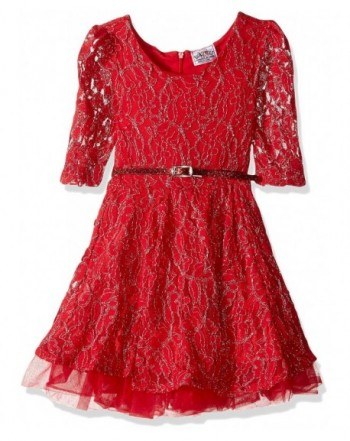Beautees Girls Three Quarter Sleeve Solid Dress