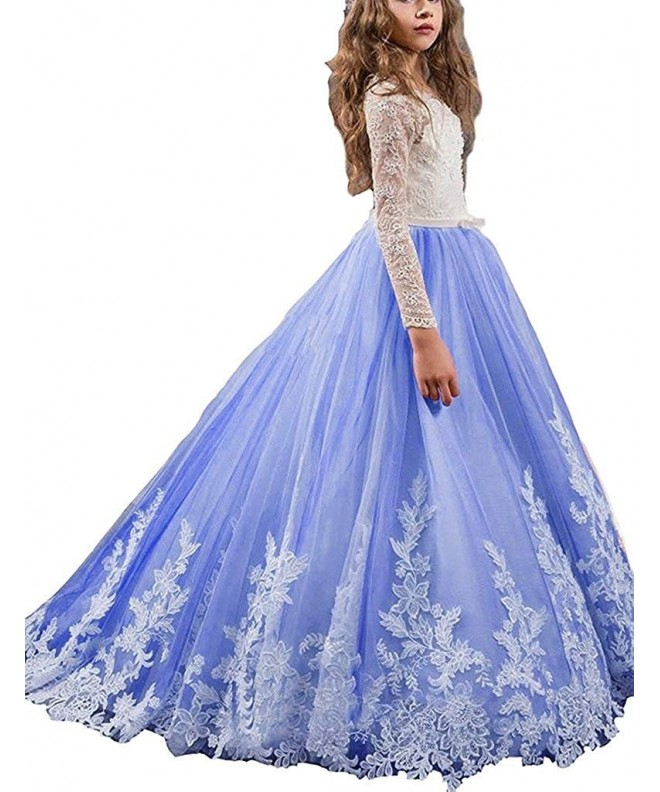 Appliques Sleeve Pageant Flower Dresses