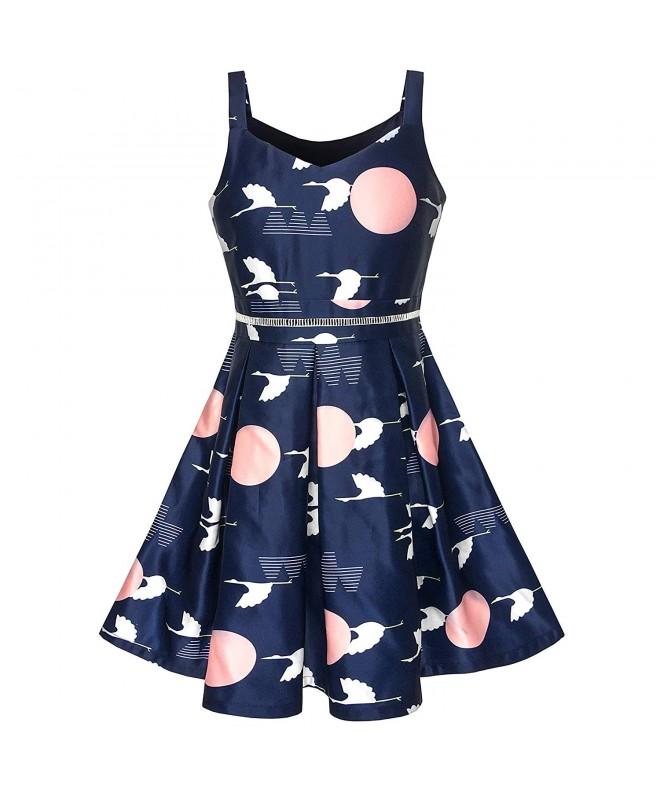 Girls Dress Vintage Bird Butterfly School Party Dress Age 5-10 Years