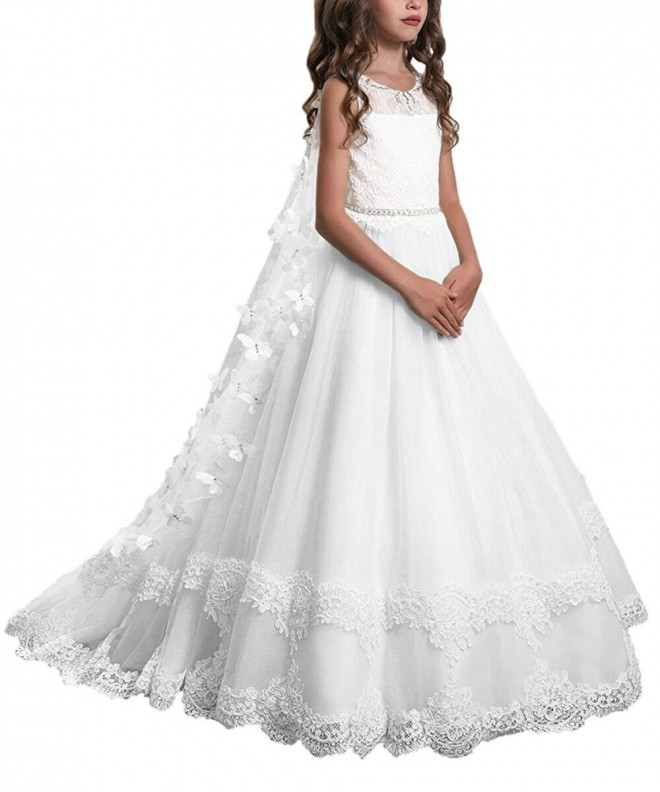 Flower Girl Lace Long Dress Wedding Pageant Communion Prom Princess Gown for Kid