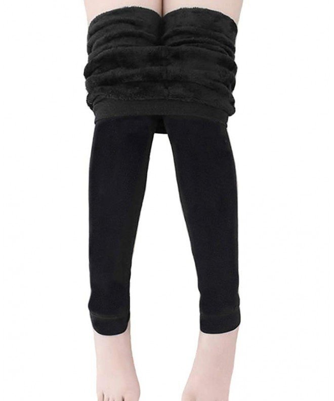 ae168349c1c Girls Winter Warm Fleece Lined Tights Trousers Kids Elastic Thick ...