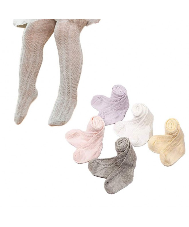 Looching Pack of 3 Cotton Footless Knit Legging Pants Tights Ankle Length Stocking Pantyhose for Baby Toddler Girls