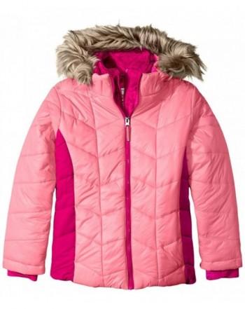 691cdb23 Little Girls' Puffer Coat with Vestee - Pink Blush - CB11XF5UYX7