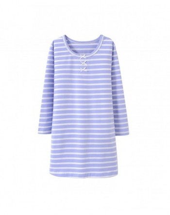 Allmeingeld Stripes Nightgowns Bowknot Sleepwear