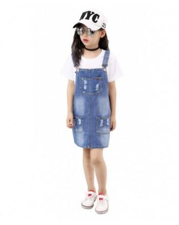 Kidscool Girls Embroidered Flower Bibs Jeans Overalls Dress