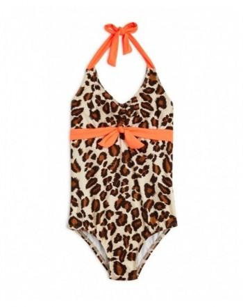Aqua Girls Leopard Halter Swimsuit