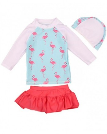 JELEUON Long Sleeve Flamingo Swimsuits Beachwear