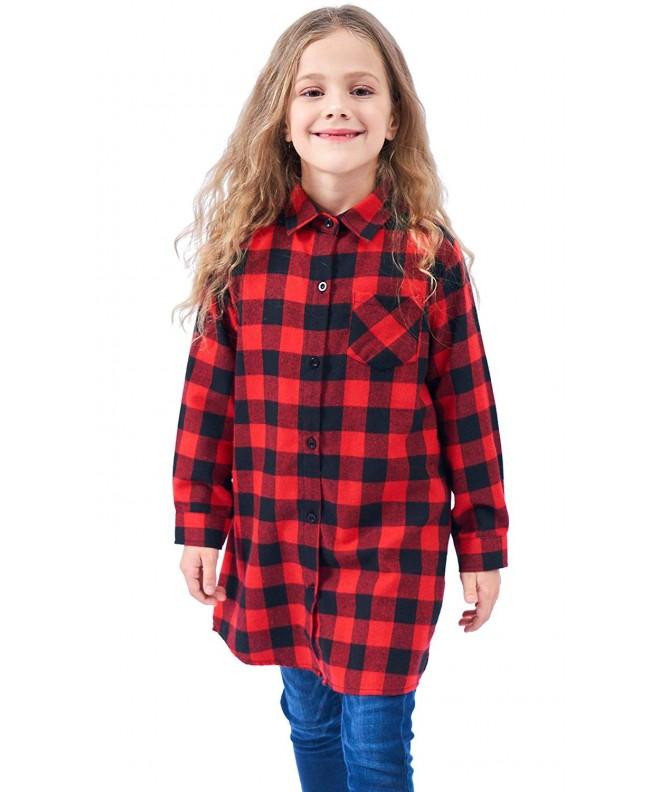 Welity Girls Flannel Plaid Shirt