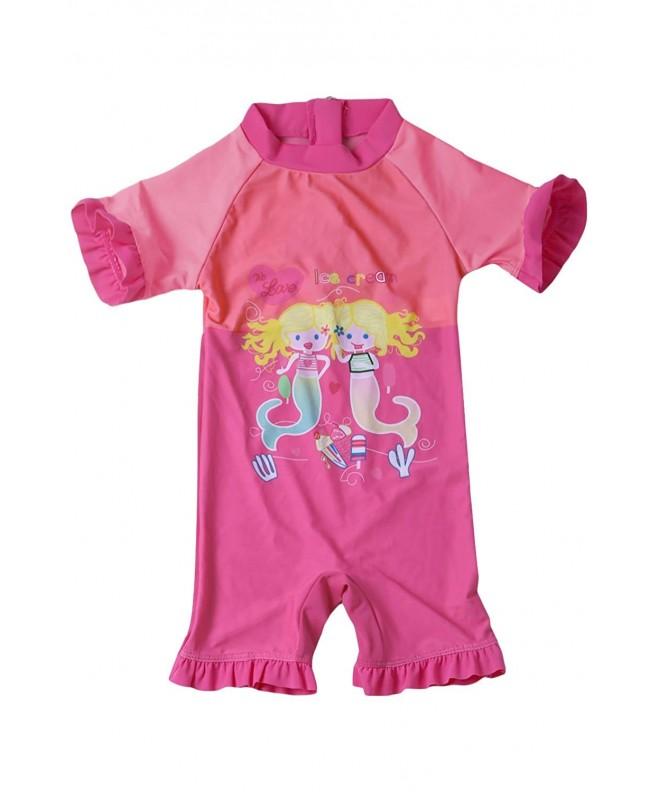 9a99bae0d1871 ... Girls Zip One Piece Swimsuit Short Sleeve Rash Guard Swimwear - Pink -  CJ18NLKUI72. Aleumdr Mermaid Princess Swimsuit Swimwear