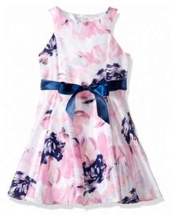 ZUNIE Slvless Shantung Floral Ribbon