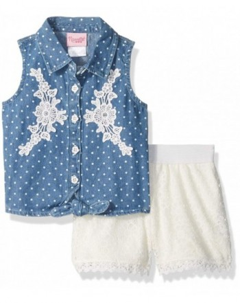 Nannette Girls Printed Chambray Floral