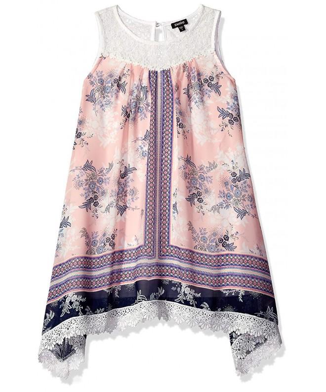 ZUNIE Girls Sleevless Chiffon Floral