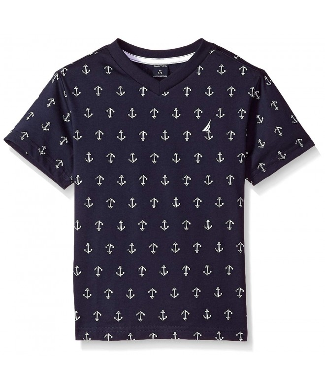 Nautica Big Boys/' Short Sleeve Printed V-Neck T-Shirt