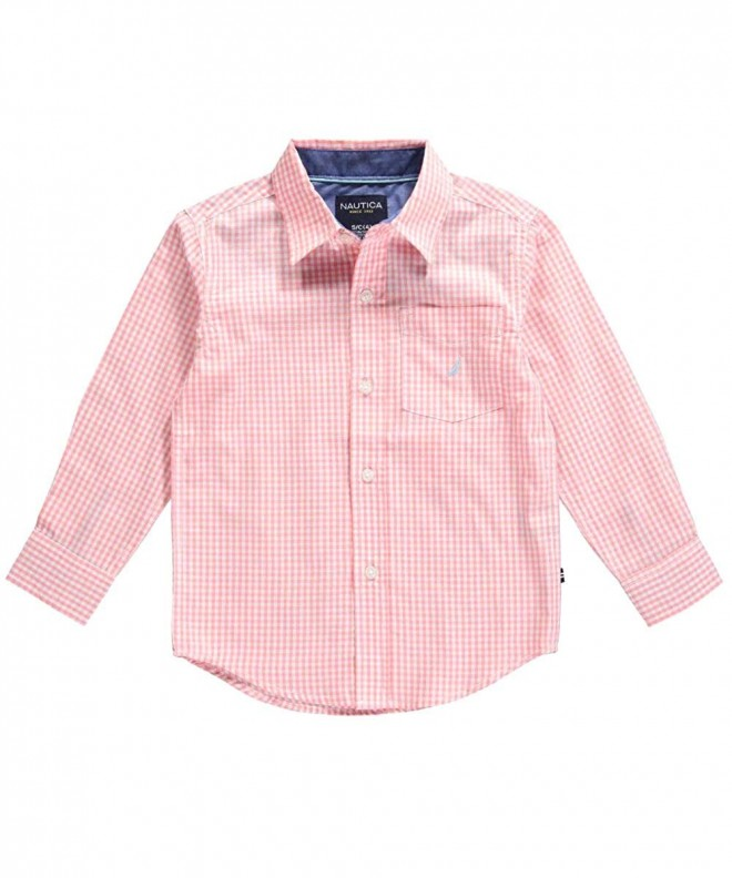 Nautica Little Simply Gingham Button Down camelia