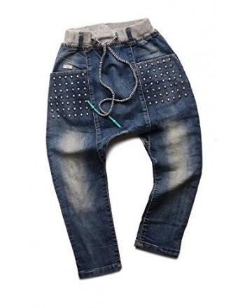 ORO Elastic Waist Jeans Decorative