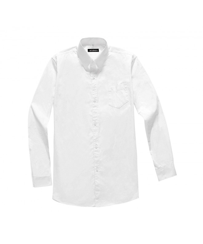 AOLIWEN Boy/'s Solid Long Sleeve White Dress Shirt School Uniform Slim Fit Shirts 3-16 Years