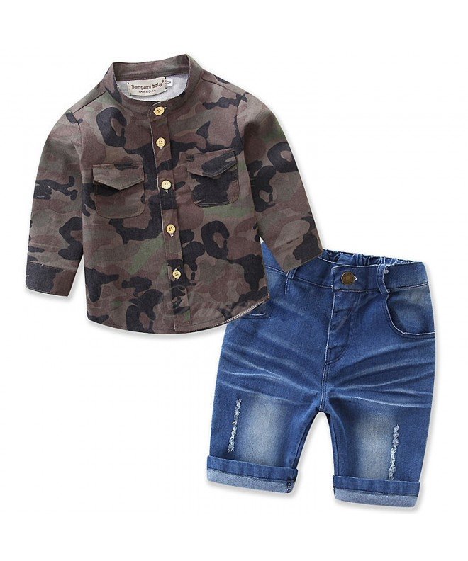Camouflage Sleeve Lapel Shorts Outfits