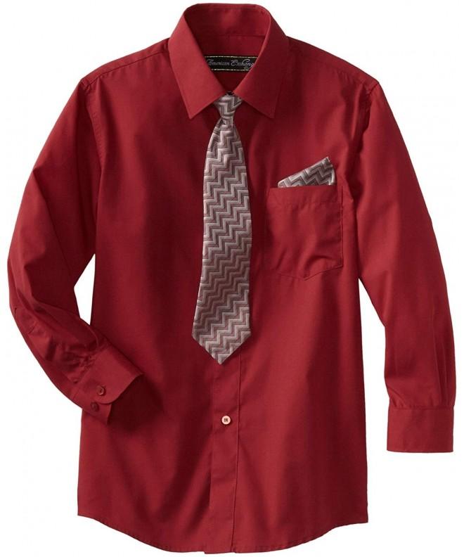 75fbcbcf9 Big Boys' Dress Shirt with Tie and Pocket Square - Burgundy ...