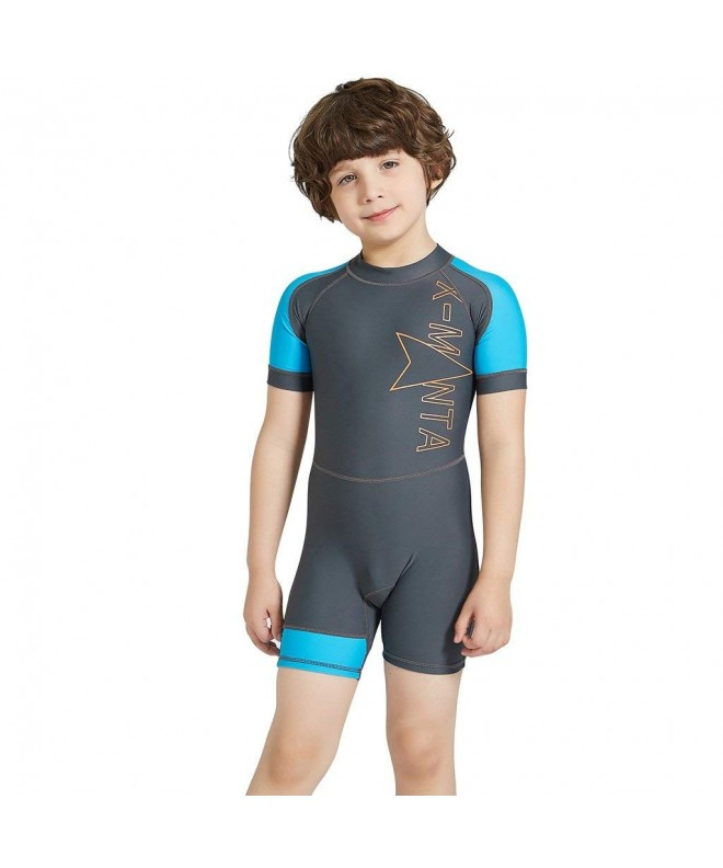 Boys One Piece Swimsuits Short Sleeve Rash Guard Shirt Bathing Suits for Boys