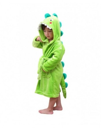 Kids Plush Hooded Bathrobe Dinosaur