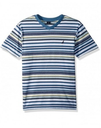 Nautica Sleeve Striped V Neck T Shirt