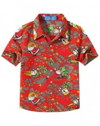 bc30ecb6 Big Boys' Holiday Santa Claus Party Casual Ugly Hawaiian Christmas Shirts -  Red - CM18LR832E4