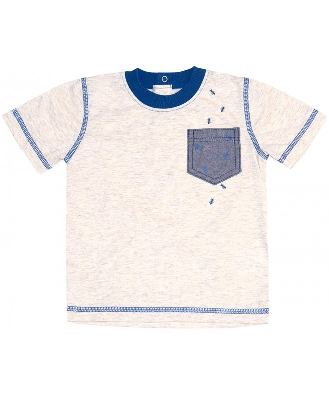 Beachcombers Boys Tops Mock Turtle Zip Top With a Stripe Design Blue