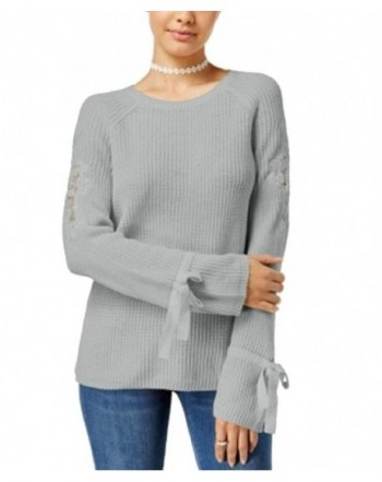 Freshman Juniors Ribbed Lace Inset Sweater