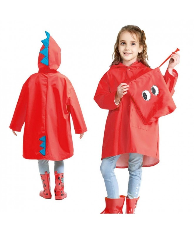 moderate cost hot-selling best loved Kids Raincoat - Cute Rain Poncho - Travel Hooded Rain Jacket for Boys -  Girls Outfit - Red - CB18KWNURWT
